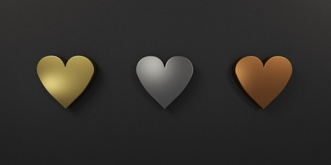 Three Hearts in gold silver and bronze. 3D Render Illustration