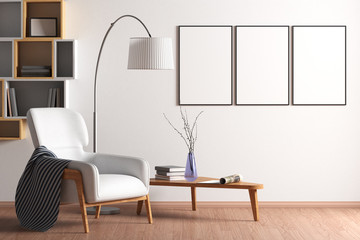 Blank poster mock up with black frame on the wall in living room interior