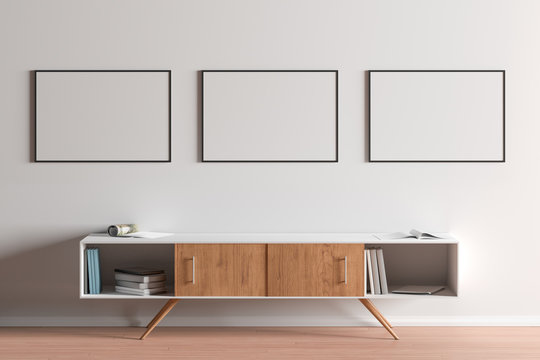 Blank horizontal posters mock up with black frame