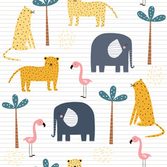 Seamless pattern with african animals. Cute kids print. Vector hand drawn illustration.