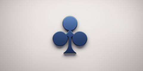 Clover Poker Card Symbol. 3D Render Illustration