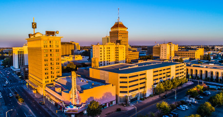 Aerial, Historic Downtown Fresno, California Wall mural