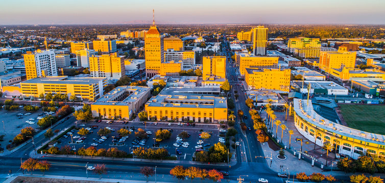 Aerial, Historic Downtown Fresno, California