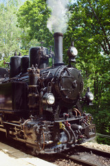 Front view of a working steam engine