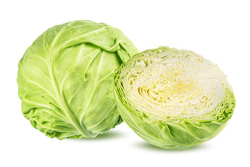Fototapete - Green cabbage isolated on white background