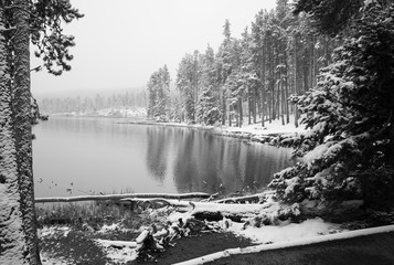 Sprague Lake at Rocky Mountain National Park with snow