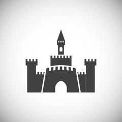 Castle icon on background for graphic and web design. Simple illustration. Internet concept symbol for website button or mobile app.