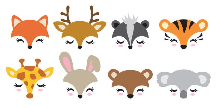 Vector illustration set of cute animal faces including fox, deer, skunk, tiger, giraffe, rabbit, bear and koala.