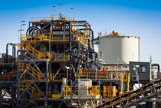 Processing Plant at Lithium Mine in Western Australia. Mechanical processing used to refine lithium spodumene concentrate.. Logos removed in Photoshop.