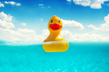 Rubber duckling floating in water. Summer vacation.