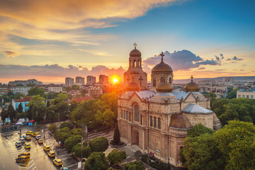 The Cathedral of the Assumption in Varna, Bulgaria. Aerial sunset view Wall mural