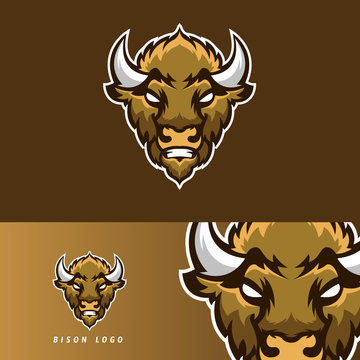 Bison esport gaming mascot logo template