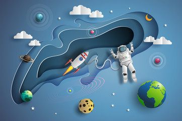 Paper art style of astronaut in outer space on mission, showing victory hand sign, flat-style vector illustration.