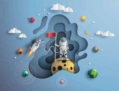 Paper art style of astronaut raising flag on moon with spacecraft, flat-style vector illustration