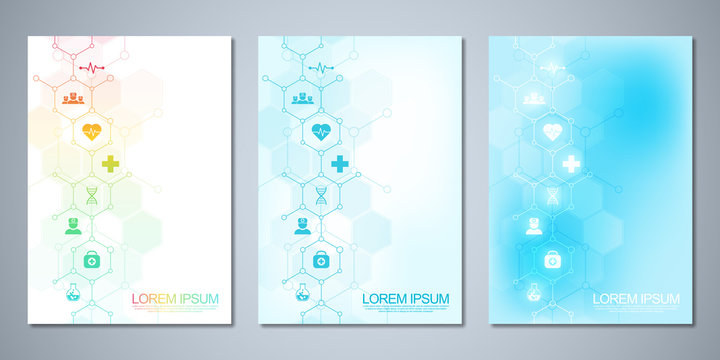 Template brochure or cover with medical icons and symbols. Healthcare, science and innovation technology concept.