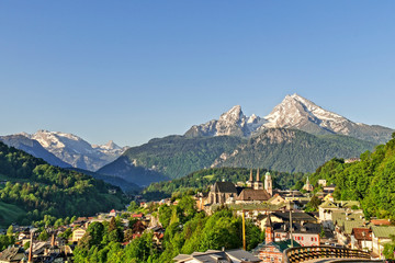Town of Berchtesgaden with famous Watzmann mountain in the background, National Park Berchtesgadener Land, Bavaria, Germany Wall mural