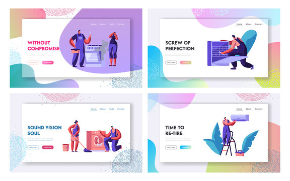 Husband for an Hour, Repair Service Website Landing Page Set. Men in Uniform Fixing Broken Technics at Home. Electrician, Plumber Call Master at Work Web Page. Cartoon Flat Vector Illustration, Banner