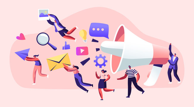 Marketing Team Work with Huge Megaphone, Alert Advertising, Propaganda, Speech Bubbles and Social Media Icons. Public Relations and Affairs, Communication, Pr Agency Cartoon Flat Vector Illustration
