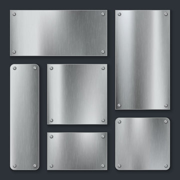 Metal plates. Steel plate, stainless panel chrome tag with screws. Industrial technology metallic blank realistic template vector set