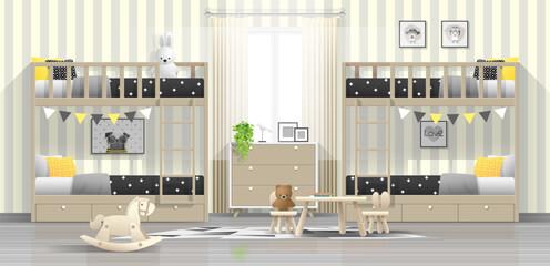 Interior background of modern kids bedroom with wooden bunk beds , vector , illustration