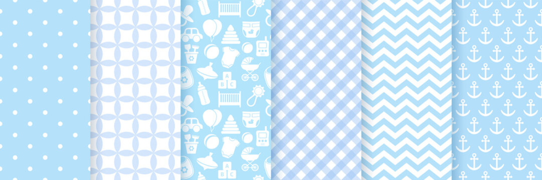 Baby boy pattern seamless. Baby shower backgrounds. Vector. Set blue pastel patterns for invitation, invite templates, cards, birth party, scrapbook in flat design. Cute illustration.