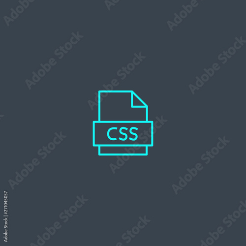 CSS concept blue line icon  Simple thin element on dark