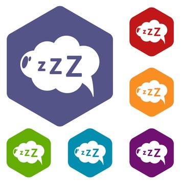 Snoring icons vector colorful hexahedron set collection isolated on white