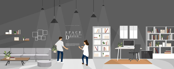 Cartoon studio and learning space interior design, family relationship vector element