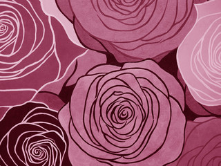 watercolor pink roses on paper.