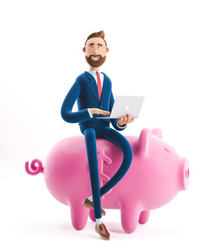 3d illustration. Portrait of a handsome businessman with piggy bank. Safe money storage concept.