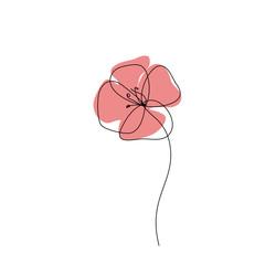 Obraz Poppy one line drawing icon. Continuous line art, Minimalist style. Editable line - fototapety do salonu