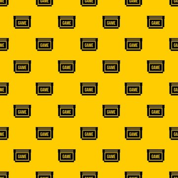 Game cartridge pattern seamless vector repeat geometric yellow for any design