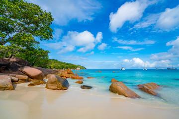Beautiful sandy beach with  turquoise sea on Seychelles