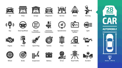 Car icon set with basic automotive symbols: automobile, auto service, wash & shop, vehicle repair, wheel & tire, oil & fuel, engine, battery, road traffic, brake, spark plug and more glyph sign. Wall mural
