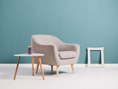 Living room interior with minimalist furnishing