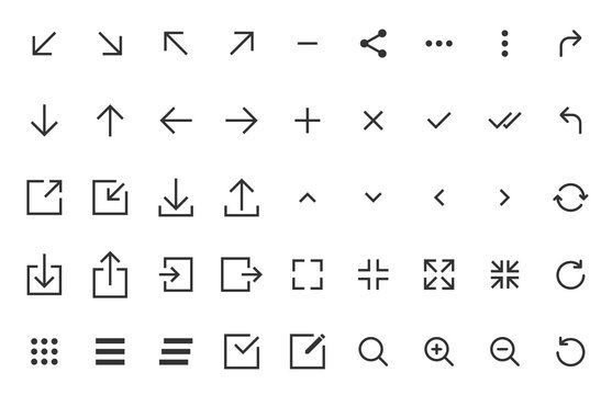 arrows and signs web buttons. user interface elements. arrows and signs outline vector icons for web, mobile and ui design