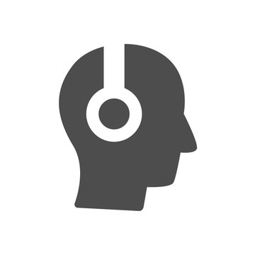 human head in headphones vector icon isolated on white background. man listening music, audiobook, lectures web icon for mobile and ui design