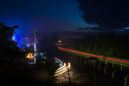 The camp ground near the Schwalbenschwanz curve and the small carousel at the Nürburgring 24 hour endurance race