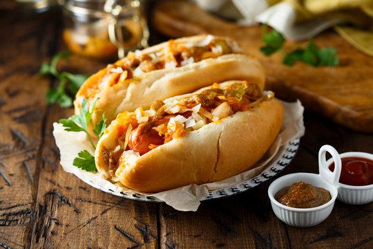 Homemade hot dogs with sauerkraut