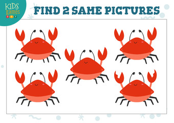 Find two same pictures kids game vector illustration. Activity for preschool children