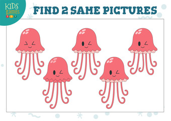 Find two same pictures kids game vector illustration.