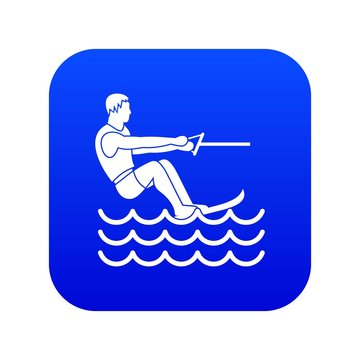 Water skiing man icon digital blue for any design isolated on white vector illustration
