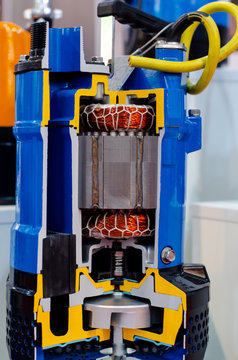 Close-up of Sectional Submersible Water Pump Types