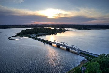 Aerial view of Munkholm bridge, Denmark
