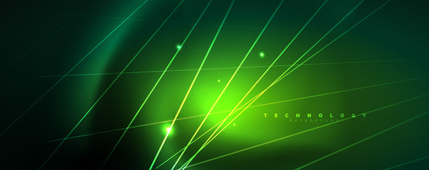 Vector neon light lines concept, abstract background Wall mural