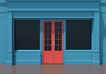 Classic blue shopfront with red door and large windows. Small business blue store facade