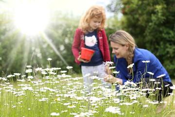Blumenwiese vor Mutter mit Kind