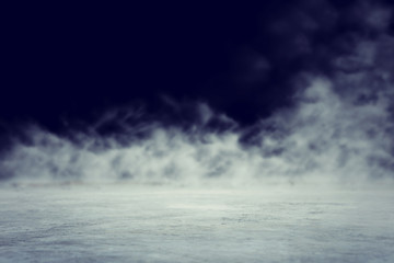abstract dark concentrate floor scene with mist or fog, spotlight and display