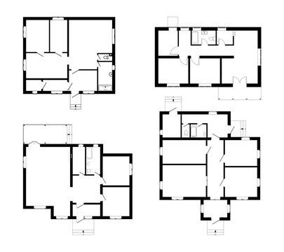 Set of ground floor blueprints. Vector unfurnished floor plans for your design. Suburban house set.
