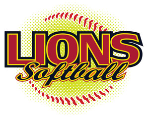 Lions Softball Design is a lions mascot design template that includes team text and a stylized softball graphic in the background. Great for team or school t-shirts, promotions and advertising.